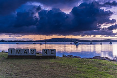 IMAGINE an Overcast Morning on the Bay with Boats (Merrillie) Tags: daybreak sunrise sculpture imagine nature australia drizzly tascott overcast boats nsw newsouthwales wet koolewong morning brisbanewater dawn cloudy water landscape earlymorning coastal clouds sky waterscape bay centralcoast outdoors foreshore