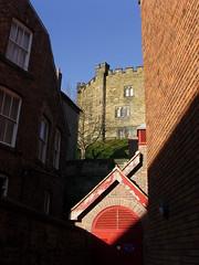 Diamond castle (Nekoglyph) Tags: durham shadows castle stone green red diamond windows bricks blue