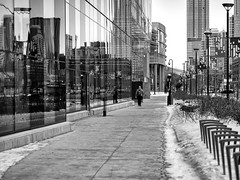 Early morning walk (George Stastny. Photographer.) Tags: street streetphotography streets monochrome blackandwhite bnw bw reflection edmonton alberta canada getolympus olympus omd