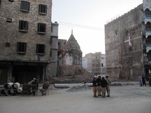 Ruins of a Hindu temple, in the rubble of a madrassa burned down during sectarian riots, Rawalpindi, Pakistan.