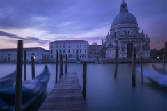 Venetian paths 129(Madonna della Salute) (Maurizio Fecchio) Tags: sunrise morning venice venezia church longexposure nopeople city cityscape architecture sky clouds water gondola travel tranquility nikon d7100