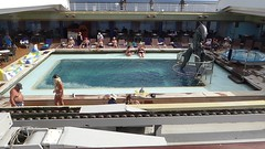 Caribbean Sea, Day 7 -- Caribbean Cruise Vacation, Holland America's Veendam, Pool Area with Retractable Roof (Mary Warren 12.9+ Million Views) Tags: caribbean cruise hollandamerica veendam pool people dolphins