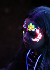 once upon a night... (Paul J's) Tags: girl uvlight facepaint taranaki newplymouth pukekurapark park newyearseve event festivaloflights uvneonfacepaint