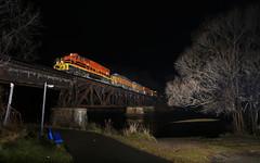 The sky is the Limit (GLC 392) Tags: muskegon mi michigan river bridge tree mqt marquette rail railroad railway train mmrr 3406 3408 2044 2040 2019 night time flash z151 emd sd402 gp382 gp38 mid bench walkway newaygo gw