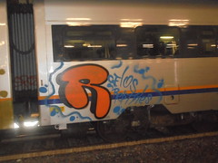 936 (en-ri) Tags: r reptiles arancione nero blu train torino graffiti writing throwup gelo gelos crew