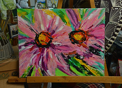 """Double Pinks"" (BKHagar *Kim*) Tags: bkhagar art artwork painting paint acrylic pink flower flowers floral double two doublepinks canvas"