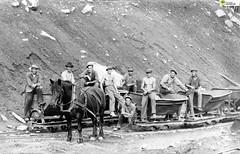tm_5858 (Tidaholms Museum) Tags: svartvit positiv gruppfoto människor byggnadsarbetare häst djur räls redskap
