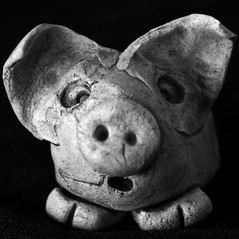 Is it me?! What!!! it's NOT me!!!? (Snorkle-suz) Tags: macromondays centersquarebw monday19nov2018 squareformat bw blackandwhite surprised pig clay ornament closeup small macro fun stilllife tabletop inside ordinaryart newzealand nz aotearoa canoneos600d canoneosrebelt3i canoneoskissx5 canonefs55250mmf456isstm 55250mm