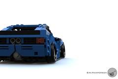 80's Supercar rear close up - Miniland scale - Lego (Sir.Manperson) Tags: lego moc 80s retro ldd render miniland
