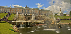 SPBPanoPHF4c (preacher43) Tags: peterhof russia grand palace great cascade samson fountain chapel building architecture onion dome people tree clouds strelna pushkin
