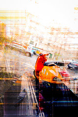 exp6-2 (matwolf) Tags: experiment manipulation color colorful colors canon paris france mopet motorcycle roller bearbeitet orange abstract abstrakt