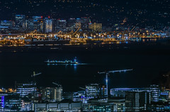 warriors don't look back (pbo31) Tags: bayarea california nikon d810 color night dark black january 2019 city boury pbo31 over sanfrancisco skyline urban construction view oakland port ship warriors basketball nba chase center arena crane missionbay twinpeaks