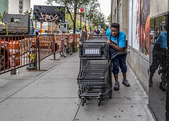 Make Way. I'm Coming Through (J MERMEL) Tags: genres geography lowereastsidenolita nyc people supermarket wagons young man