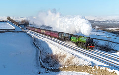 61306 'Mayflower' & 35018 'British India Line' look resplendent as they head the 1Z87 Carlisle to Euston 'The Winter Cumbrian Mountain Express' past the masses at Greengates on the 2nd Feb '19. (mark.latham@ymail.com) Tags: 1z87 greengates sc 35018 mayflower 61306