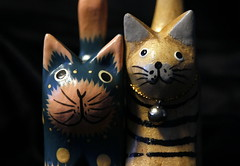 Spotty and Stripy (Snorkle-suz) Tags: macromondays dotsandstripes monday26nov2018 catornaments wooden painted cats closeup small macro fun stilllife tabletop inside ordinaryart newzealand nz aotearoa canoneos600d canoneosrebelt3i canoneoskissx5 canonefs55250mmf456isstm 55250mm