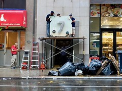 """""""7"""" (pburka) Tags: number 7 nyc seven workers garbage scaffold midtown w36th sign streetnumber"""