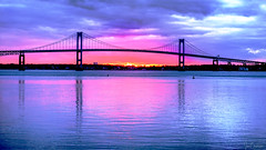 December Sunset (Ian Charleton) Tags: bridge sunset sunrise pellbridge newpor newportbridge rhodeisland newengland water narragansettbay bay seascape landscape reflection