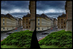Reichenbach, Friedensschule 3-D / CrossView / Stereoscopy (Stereotron) Tags: reichenbach saxony sachsen vogtland deutschland germany europe streetphotography cross eye view xview crosseye pair free sidebyside sbs kreuzblick bildpaar 3d photo image stereo spatial stereophoto stereophotography stereoscopic stereoscopy stereotron threedimensional stereoview stereophotomaker photography picture raumbild twin canon eos 550d remote control synchron kitlens 1855mm 100v10f tonemapping hdr hdri raw