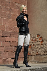 Tabea 43 (The Booted Cat) Tags: sexy blonde hair model girl leather jacket boots overkneeboots heels highheels