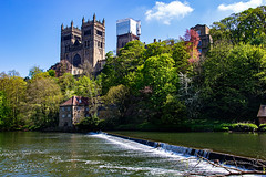 Durham 05 May 2018 00087.jpg (JamesPDeans.co.uk) Tags: mill landscape cathedral season printsforsale durham religion unitedkingdom commerce britain wwwjamespdeanscouk green landscapeforwalls jamespdeansphotography uk digitaldownloadsforlicence spring forthemanwhohaseverything england plants nature greatbritain lightshade riverwear trees colour river tower weir woods architecture europe steeple gb spire church
