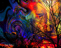Other Life (brillianthues) Tags: sky trees face abstract colorful collage photography photmanuplation photoshop