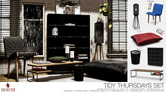 NEW! Tidy Thursdays Set @ C88 (Bhad Craven 'Bad Unicorn') Tags: floor pillow leather bonded bound seat chair chairs seats cabinets table trash bin paper lamp cage decor 3d sl second life mesh shadows plants wood cozy badunicorn bhad