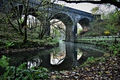 Early one morning (Glenn Birks) Tags: railway bridge river autumn reflections leaves wye buxton derbyshire midlands england
