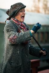 Minnie the Moocher (Yaecker Photography) Tags: woman hobo tramp train beggar railroad polarexpress railtown mood raw expression actor oldlady railroadcar lenstagger