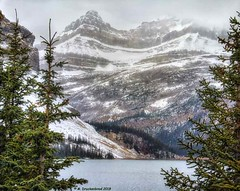 Mountains towering above Bow Lake in Banff National Park, Alberta, Canada (PhotosToArtByMike) Tags: bowlake banff banffnationalpark bowriver icefieldsparkway westernalberta canadianrockies albertacanada mountain mountains crowfootmountain