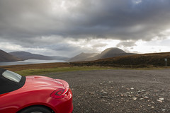 Sàil Mòr Rear (syf22) Tags: scotland rosscromarty car autocar automobile automotor auto vehicle motor motorcar motorised red guardsred porsche porscheclubgb porscheclubgbregion2 porscheboxster boxster boxsters boxster981s softtop convertible sportscar flatsix flat6 flatsixengine boxerengine rearengine rear countryside landscape scenic scenery opencountry cloudscape stormy storm moody clouds clearing shower changeable cloudy sky cloudysky overcast weather view panoramic