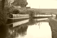 Barges at Hagg Bank Lane, Disley.   (Peak Forest Canal) October 2018 (dave_attrill) Tags: peakforest canal disley barges moored haggbanklane haggbank towpath peakdistrict cheshire october 2018 sepia monochrome
