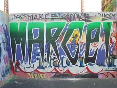 330 (en-ri) Tags: marcel 666 viola verde bianco flames fiamme parco dora torino wall muro graffiti writing