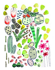 cactus doodle (x Louisa Rose x) Tags: cactus cacti succulant print succulent illustration watercolor plants floral botanical doodles sketch colours