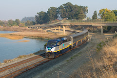 Pinole, CA (cadet_wilson) Tags: amtrak train california bnsf stockton sub union pacific calp martinez subdivision amtk cdtx f59phi locomotive emd general motors products nikon photography dslr camera d3400 smoke smokey ca autumn weather foul caltrans pinole shores east bay regional park bayfront