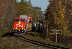 4400 Shiny Horses Leading - Windsor Junction, NS (CWentzell Photography) Tags: cn rail railroad freight train stacks stacker intermodal ge engine engines motivepower locomotive locomotives power canadiannational canada novascotia halifax bedford sub subdivision windsorjunction track canon adobe lightroom landscape