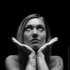 Jazz-6637 (Dana Brady) Tags: monochrome tattoospiercings brighteyes portrait downwardlight nikond7100 nikon 50mm blackwhite blackandwhite beauty shadows emotion emotive