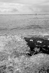 Porous Ice (peterkelly) Tags: bw canon 6d europe iceland gadventures bestoficeland jökulsárlónglacierlagoon water northatlanticocean ice black sand beach