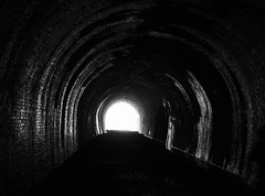 Light At The End Of The Tunnel (Hammerhead27) Tags: empty olympus mono bw monochrome industrial arched relic historic wet derelict brick light blackandwhite abandoned railway dark tunnel disused old rail wales usk