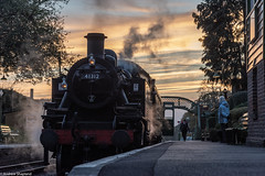 Dusk at Four Marks (Articdriver) Tags: watercressline steam locomotive station evening medsteadfourmarks hampshire 41312 platform dog footbridge midhantsrailway sunset autumn