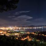 Panorama of the full moon over the port city of La Spezia in Liguria, Italy thumbnail