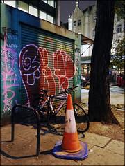 Oker / Grit (Alex Ellison) Tags: oker grit gsd throwup throwie night tottenhamcourtroad centrallondon urban graffiti graff boobs