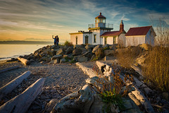 West Point Lighthouse Selfie (ScottWoodPhotos) Tags: selfie summer beach washington sunset pugetsound people sky water couple lighthouse seattle clouds