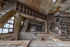 Lost stairway (Guy Goetzinger) Tags: goetzinger nikon d850 lostplaces urbex hdr color industrial stairway topdown mess