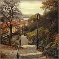 """from the series """"Walking around Prague."""" Autumn day. (odinvadim) Tags: iphoneart landscape edit iphoneonly iphonex iphoneography specialist mytravelgram autumn painterlymobileart old iphone snapseed evening artist instapickskyart travel oldhouse textured editmaster river textures prague icolorama"""