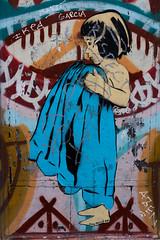 Girl with blue blanket (michael_hamburg69) Tags: barcelona spain spanien barcelone barcelonés barcelonesa barcellona espagne españa spagna xībānyá katalonien catalonia cataluña streetart urbanart graffiti art artdecarrer arteurbano artist künstler joanaguiló girl blue blanket
