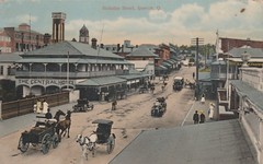 Nicholas Street, Ipswich, Qld - circa 1910 (Aussie~mobs) Tags: vintage queensland australia ipswich nicholasstreet streetscape transport shops hotel stores thecentralhotel cribbandfoote baker pastrychef telegraphpole wagon dray sulky carriage