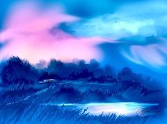BLUEVIEW ESTATE (golfbag3) Tags: visualart soe ipad illustration blue retro rustic landscape