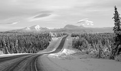 Over the river and through the woods . . . (JLS Photography - Alaska) Tags: alaska alaskalandscape wilderness winter winterlandscape jlsphotographyalaska landscape lastfrontier landscapes road mountains sky clouds blackwhite blackandwhite bw tree forest mountain