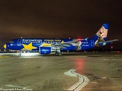 Eurowings D-ABDQ (Europa Park Livery) HAJ at Night (U. Heinze) Tags: aircraft airlines airways airplane flugzeug planespotting plane haj hannoverlangenhagenairporthaj eddv olympus 1240mm night