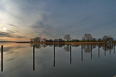 Spiegelung (Wunderlich, Olga) Tags: hafen mecklenburgvorpommern wasser bäume spiegelung naturaufnahme wölkchen licht